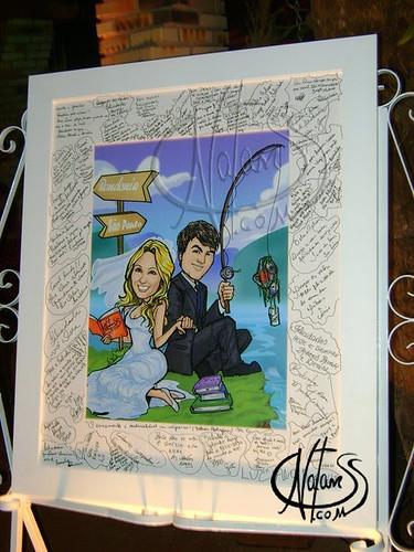 NatanSS_Caricatura_noivos_Ane_colorido_quadro_de_assinaturas_casamento_2011_ by natanss