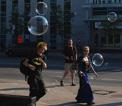 Bubble Battle Toronto 2011- 4329 (sniderscion) Tags: street city summer people urban toronto ontario canada silly color colour guy public girl smile festival scott fun toy happy cool nikon shiny bright random space culture vivid bubbles battle canadian event jamming bubble trippy spadina tamron f28 quirky bloor offbeat snider 2011 newmindspace d80 1750mm tamronspaf1750mmf28 sniderscion