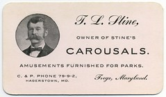 T. L. Stine Owner of Stine's Carousals (Alan Mays) Tags: old vintage ads paper advertising typography md antique maryland ephemera businesscards moustaches type advertisements fonts printed hagerstown stine typefaces amusementparks bowties carousels amusementrides merrygorounds frego hlstine stinescarousals cpphone