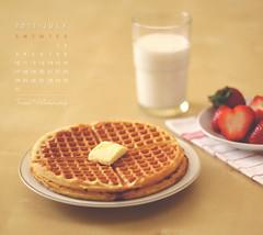JULY - Calendar (Faisal | Photography) Tags: life yellow breakfast eos milk still strawberry soft dof bokeh 14 strawberries usm 50 tones ef waffle ef50mmf14usm 50d canoneos50d julycalendar faisal|photography فيصلالعلي