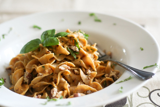 A plate of Creamy Pumpkin and Chestnut Pasta