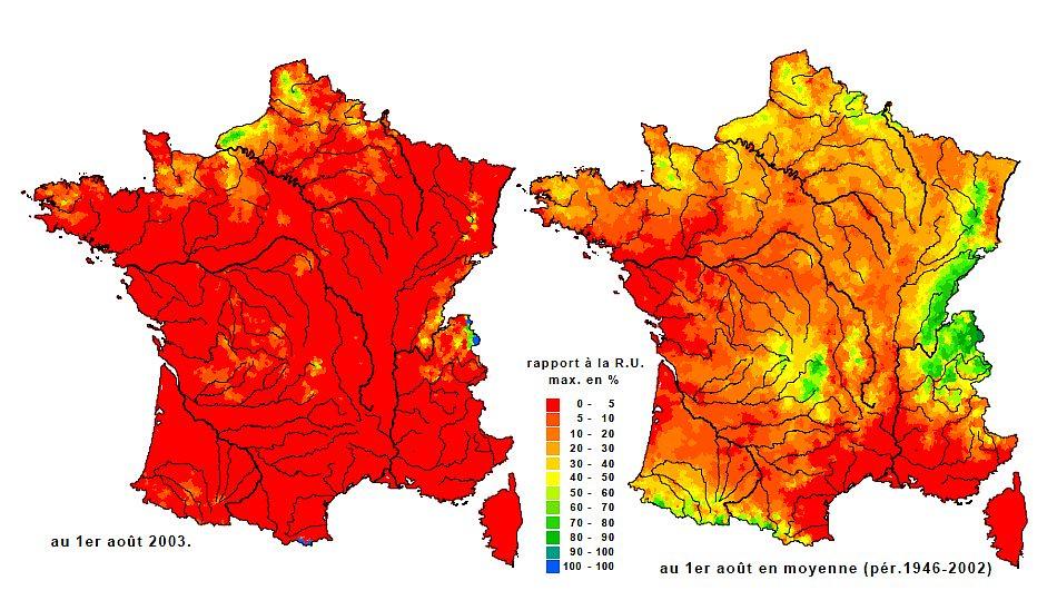 sécheresse des sols en août 2003 météopassion
