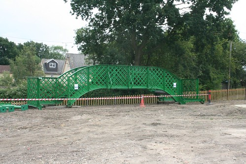 Pedestrian bridge awaiting installation