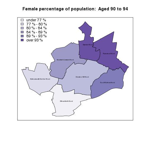 Female percentage of population:  Aged 90 to 94
