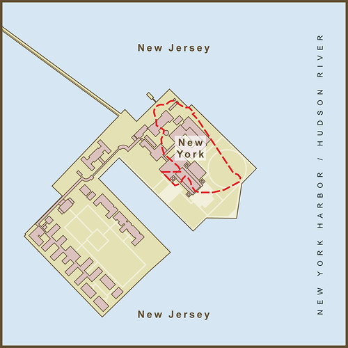 A Map of the Border Between New York & New Jersey on Ellis Island by amproehl