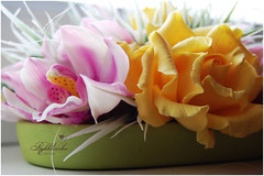 Cimbidium and Roses (RykhlinskaARTstudio) Tags: handmade decoration coldporcelain lunaclay thaiclay