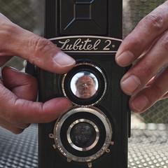 Lubitel 2 (Remko.) Tags: two black me face mediumformat lens lomo eyes hands russia nails lubitel2 soviet lubitel sovietunion ussr cccp 120mm selfie remko twinlens newexperiment
