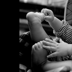 shhhhh...Im exercising... (@petra) Tags: bw nikon petra smiles pb bn grandson sw gui pp fingersandtoes mylittlelove littlehandsandfeet stripedeleganshirt