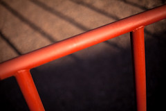 Red rail (Mabry Campbell) Tags: street shadow red usa newmexico santafe lines photography 50mm march us photo unitedstates f14 unitedstatesofamerica rail photograph 100 railing 2012 canyonroad ef50mmf14usm canyonrd ¹⁄₆₄₀₀sec mabrycampbell 201203306923 march302012