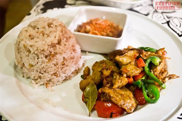 Seoul at Bliss Cafe - veggie kalpi, Blissmix rice, and Kimchi