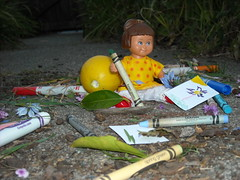 Duplo Artist - by Yalile, age 9 (Emily1957) Tags: yellow lemon lego polkadots legos crayons crayola duplo duplos duplodoll