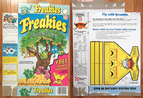 1975 Ralston Freakies Cereal Box Grumble airplane