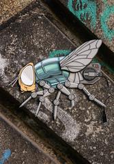 Fly on the Wall, Monbijoupark Railway Bridge, Berlin DSC_0091 (troy david johnston) Tags: troydavidjohnston berlin germany art 3d fly insect cyborg robot usb street bridge stone graffiti monbijoupark deutschland