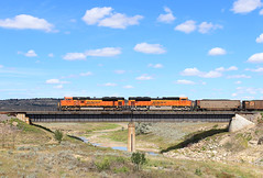 Ace-ing it (view2share) Tags: bnsf9086 bnsf8432 sd70ace emd electromotivedivision engine eastbound coal coalcar unitcoaltrain mt montana easternmontana west western yellowstonevalley ofalloncreek bridge trestle viaduct creek river valley vista sky clouds deansauvola august202016 august2016 august 2016 railway railroading rr railroads railroad rail rails railroaders rring roadtrip trains track train transportation tracks transport trackage trees travel freight freighttrain freightcar freightcars h3 fallon forsythsub summer bnsf bnsfrailway burlingtonnorthernsantafe