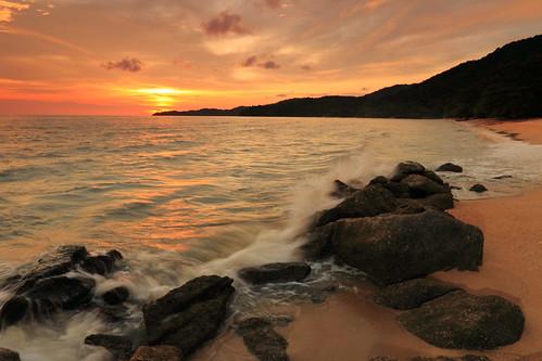 フリー写真素材, 自然・風景, 海, ビーチ・砂浜, 夕日・夕焼け・日没, マレーシア,