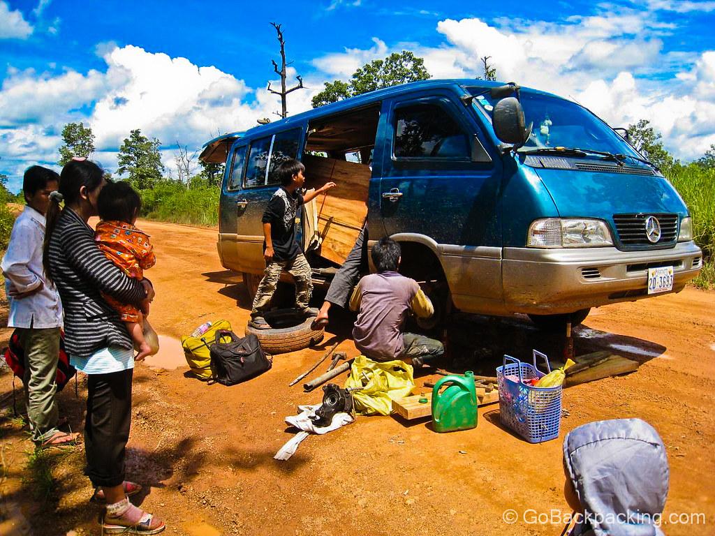 Minivan breakdown - Ratanakiri, Cambodia