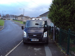 Must Be Inconsiderate Parking Day! (The Chairman 8) Tags: road trees ford grass gardens fence pavement yorkshire flats evergreen parked van footpath conifer queensbury hillcrestroad