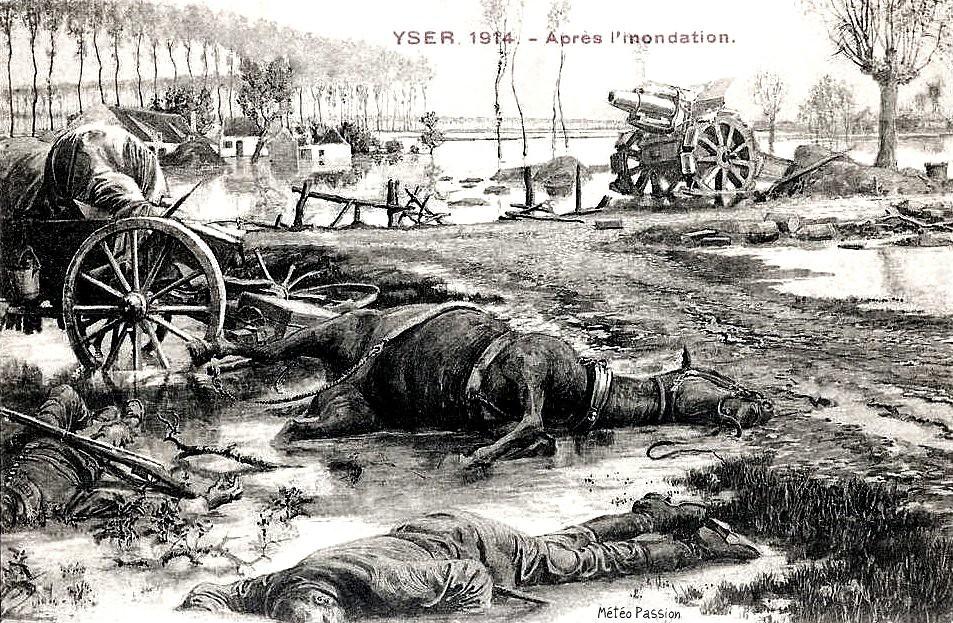 inondations d'octobre 1914 à Yser en Belgique au début de la première guerre mondiale
