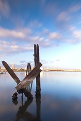 standing still (Eric 5D Mark III) Tags: california longexposure sky cloud reflection skyline canon river landscape mirror losangeles still cityscape wideangle longbeach ef1635mmf28liiusm eos5dmarkii