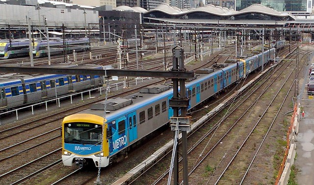 Siemens train leaving Southern Cross