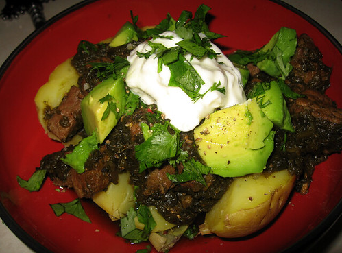 Chile Verde with avocado, yucon gold potatoes, cilantro and creme