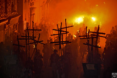Crosses in the Fog (MonkeyPolice) Tags: november red night fire crosses parade bonfire society lewes monkeypolice