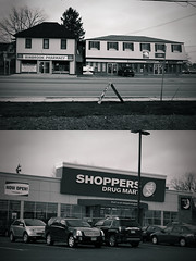 The Old & The New (markbiasutti) Tags: store diptych drug capitalism vignetting shoppers mart binbrook