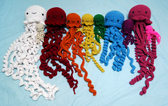 jellies, all sizes (callie callie jump jump) Tags: burlington stuffed vermont jellyfish crochet plush octopus fiber amigurumi seacreature stuffie womensfestivalofcrafts erinnsimon stuckinvt