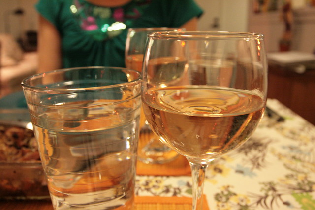 water and rosé