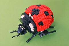 Lego Technic Ladybug (arcanemettles) Tags: red black green insect wings lego tan technic walker ladybird ladybug moc coleoptera septempunctata coccinella c7