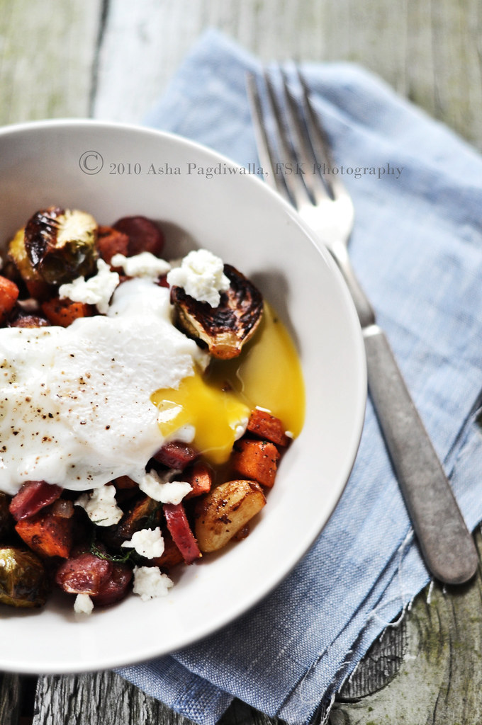 Roasted Veggies Hash with Poached Egg broken