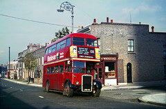 RTL JXN411 on the 108 at Poplar, 1967. (David Christie 14) Tags: bus poplar lt 108 rtl