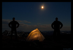 Two Men The Moon And A Tent (AlpineEdge) Tags: park longexposure blue sky moon snow canada mountains me nature silhouette night clouds outside outdoors bc hiking aaron gear tent zipper selfphoto cathedralprovincialpark scrambling lightweight