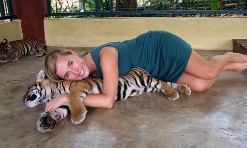 Ash with Three Month Old Tiger Cubs