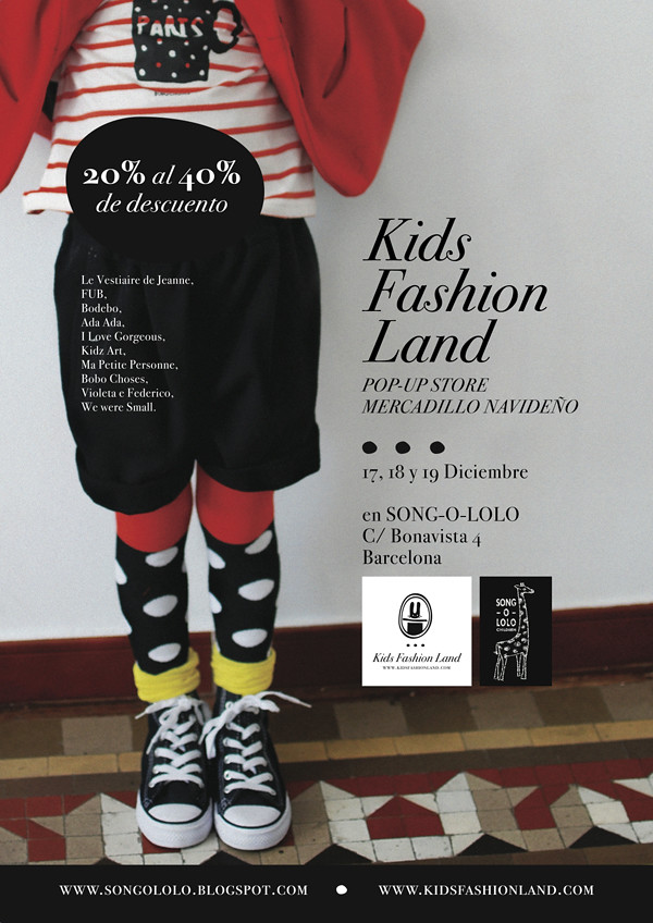 Kids Fashion Land, mercado de Navidad, pop-up store del 18 al 19 de Diciembre en Song-O-Lolo