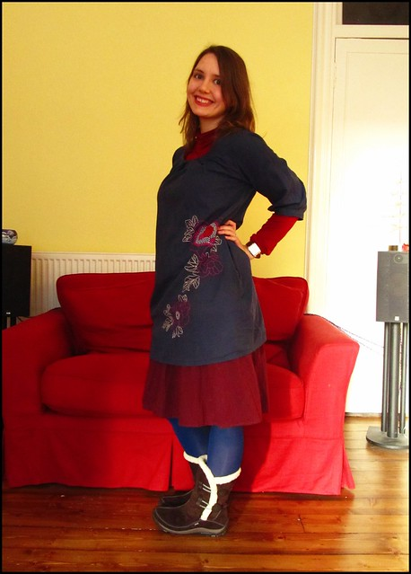 11.12.10: Navy and burgundy and new snow boots