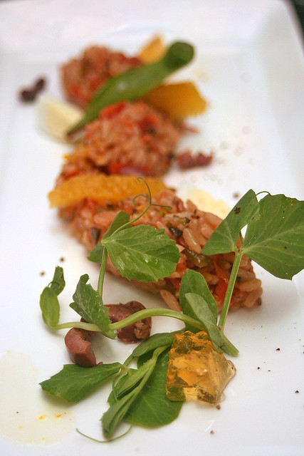 Wild brown rice salad with semi-dry tomatoes, baby quail egg, Dalmore whisky aspic and citrus orange dressing