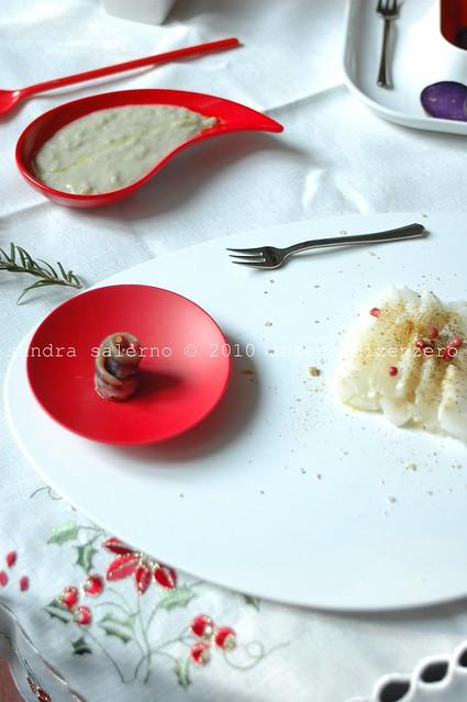 carpaccio di stocco al pepe rosa e sale speziato