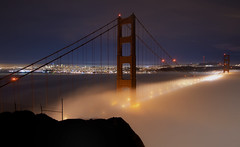 The Golden Gate Bridge (Matt Granz Photography) Tags: sanfrancisco city longexposure bridge blue red sky orange fog skyline architecture night clouds lights evening bay twilight nikon glow pacific dusk wideangle landmark icon historic tokina motionblur goldengate lighttrails 1224mm span jewel d90 visipix