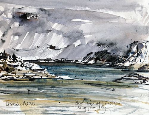 Norwegian sketches from moving boat