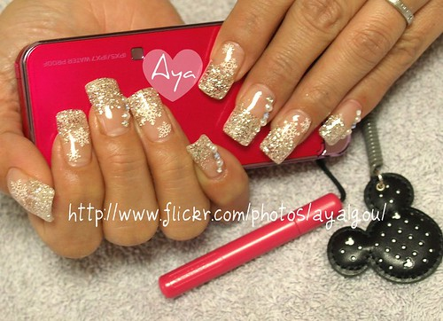 Moon silver glitter nails with snowflakes