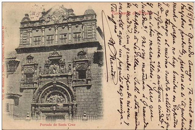 Postal del Museo de Santa Cruz a inicios del siglo XX. Viuda de Muñoz y sobrino