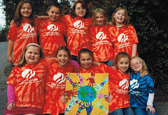 "By Girl Scout Troop #315 from Hazard, KY    Title-""Girl Scouts Helping Hands Across the World"" (International Fiber Collaborative, Inc.) Tags: newyork london art home water rain kids stars washington community war peace anniversary kentucky space dream conservation nasa explore health scouts express reach olympics breastcancer global discover sochi saturnvrocket presidentobama internationalfibercollaborative thedreamrocket"