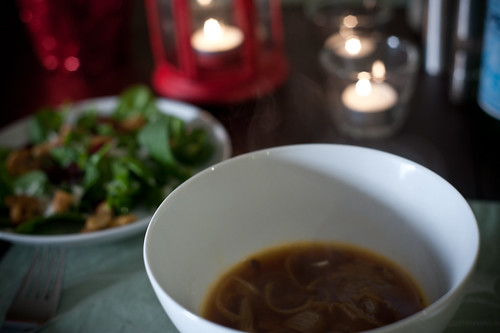 Roasted French Onion Soup and Spinach Salad