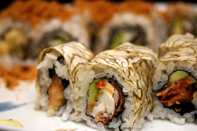 Soft Shell Crab Maki (front); Pork Floss Maki (background)