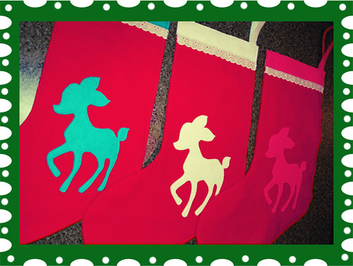 Retro Deer Christmas Stockings