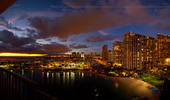 Sundown over the Lagoon (Floyd's Noise) Tags: sunset panorama marina lights hawaii oahu hilton lagoon rainbowtower nightonearth