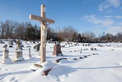 Oxford Catholic Cemetery (metroblossom) Tags: winter snow cemetery rural watertower indiana oxford smalltown bentoncounty img8979 oakgrovetownship oxfordcatholiccemetery