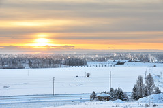 Arctic Winter Solstice (ultimateplaces) Tags: road houses light chimney orange sun snow cold cars ice nature field alaska clouds forest landscape outdoors quiet dusk farm smoke low peaceful gazebo hills arctic solstice hazy frigid larch spruce fairbanks otherworldly
