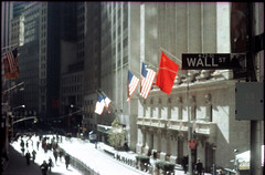 Wall street (Jeff Arenas) Tags: newyorkcity film america xpro crossprocessed minolta slide expired srt101 fail